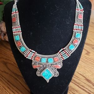 Turquoise Coral 925 Silver Necklace